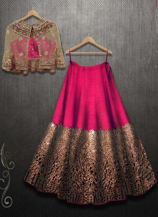 Rani Pink Color Mirror Work Designer Party Wear Lehenga Choli