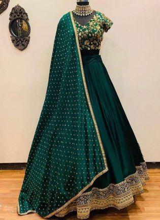 Dark Green Color Wedding Wear Taffeta Silk Base Designer Lehenga Choli