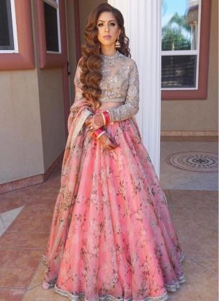 Party Wear Pink Color Designer Floral Printed Lehenga Choli