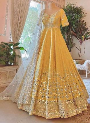Chic Yellow Color Silk Base Paper Mirror With Zari Work Flared Designer Gown