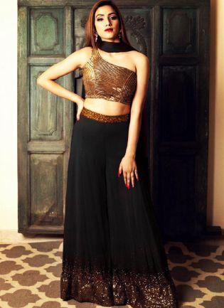 Trendy Black Color Georgetta Base Sequins Work Palazzo Salwar Suit