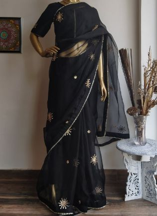 Dusky Black Embroidered Saree With Zari Finish
