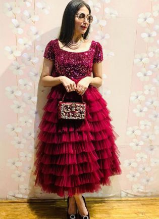 Trendy Look Maroon Color Sequins Work With Net Base Ruffle Designer Gown