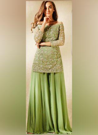 Decent Green Color Georgette Base Sequins Work Palazzo Suit