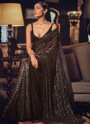Glitzy Chocolate Brown Color All Over Sequins Party Wear Saree