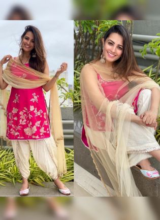 Roseate Pink Georgette And Zari Lace Salwar Suit