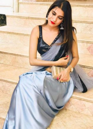 Glitzy Grey Color Designer Saree With Sequins Work Blouse