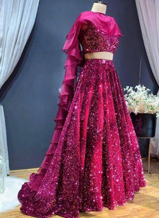 Glittery Pink Color Sequins Base Lehenga Choli