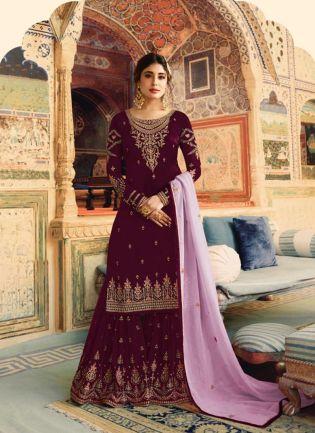 Purple Color Wedding Wear Georgette Base Sharara Suit