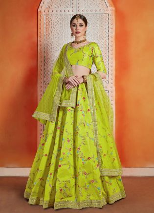 Elegant Neon Green Color Art silk Base Embroidred Lehenga Choli