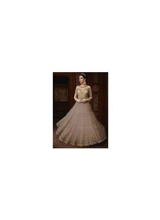 Light Grey Color Party Wear Designer Soft Net Base Anarkali Style Suit
