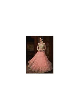 Peach Color Party Wear Designer Soft Net Base Anarkali Style Suit