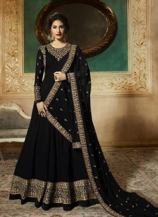 Georgette Base Party Wear Black Color Heavy Embroidery Work Anarkali Suit