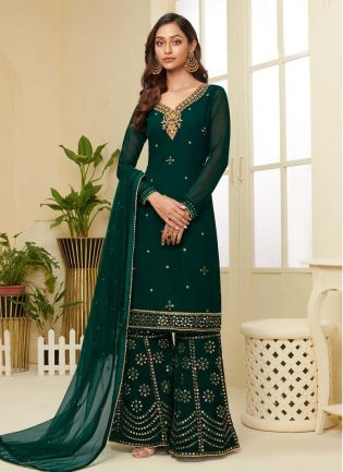 Graceful Green Color With Embroidered Work Palazzo Suit