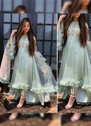 Light Green Color Soft Net Base Designer Salwar Kameez Suit