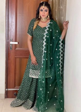 Gorgeous Look Green Color Georgette Base Heavy Work Palazzo Suit
