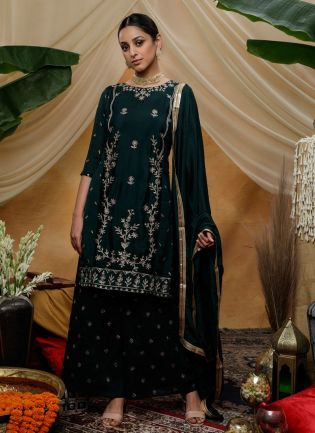 Navy Blue Zari Lacework Sequins Silk Palazzo Salwar Suit
