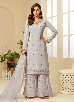 Attractive Grey Color With Embroidered Palazzo Suit