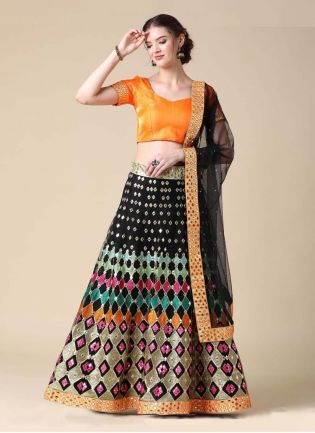 Black Color Mirror And Zari Work Soft Net Fabric Lehenga Choli