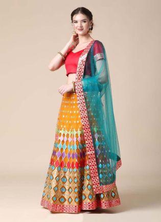 Mustard Yellow Color Soft Net Fabric Resham And Mirror Work Lehenga Choli