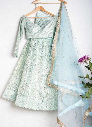 Magnificent Pastel Blue Color Soft Net Base Lehenga Choli