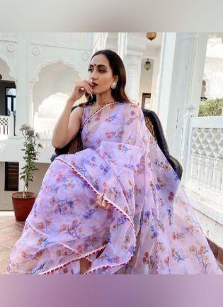 Beautiful Sky Blue Georgette Base Floral Print Designer Saree