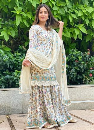 Courteous  Silk Base Off-White and Multicolor Bollywood Sharara Suit