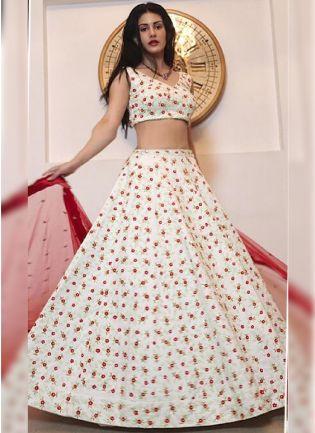 Alluring Off White Resham Tafetta Silk Lehenga Choli Set
