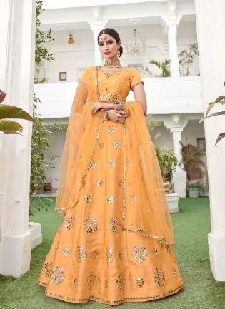 Vibrant Yellow Color Silk Base Lehenga Choli