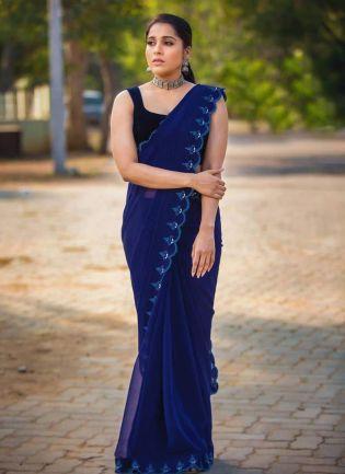 Designer Look Navy Blue Color Georgette Base Bollywood Saree
