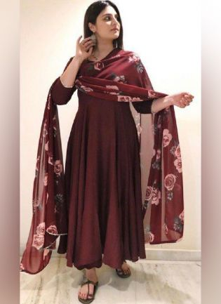 Presenting Marron Color Georgette Base Gown With Printed Dupatta