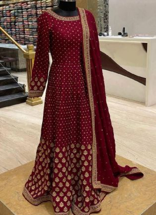 Gorgeous Maroon Color Taffeta Silk Base Embroidered Gown