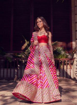 Magnificent Rani Pink Color Silk Base With Digital Print Embroidered Wedding Wear Lehenga Choli