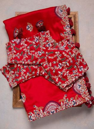 Terrific Red Color Soft Silk Base Heavy Work Base Saree With Designer Blouse