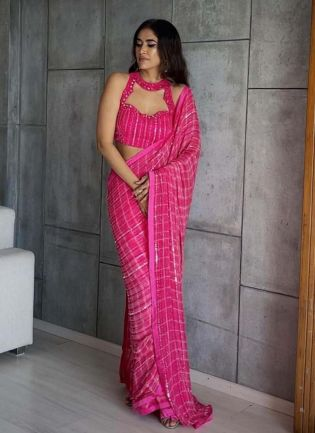 Astonishing Pink Color Silk Fabric Sequins And Mirror work Embroidered Saree