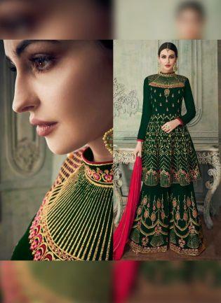 Green Resham And Georgette Pakistani Wedding Sharara Suit