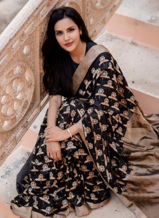 Admirable Black Silk Base Woven Designer Banarasi Saree