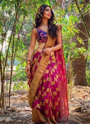 Beautiful Pink Color Silk weave Saree