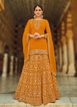 Impressive Orange Color With Georgette Base Lehenga Choli