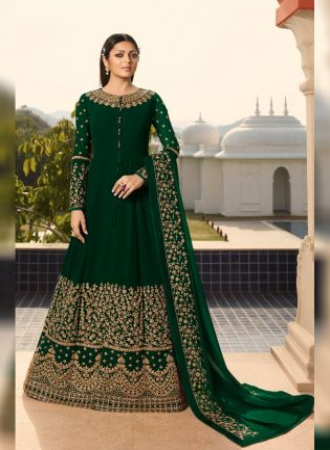 Dark Green Georgette Base Wedding Wear Embroidery And Anarkali Suit