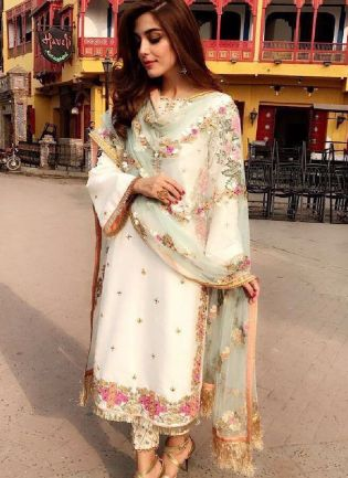 Trendy White Color Silk Base Party Wear Salwar Suit With Heavy Work Dupatta