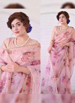 Decent Look Pink Color Flower Print Organza Base Bollywood Saree