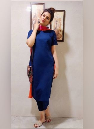 Navy Blue Color Maska Cotton Base Pant Style Salwar Suit With Georgette Base Dupatta