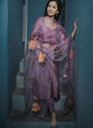Gorgeous Lavender Color art Silk Base Pant Style Suit