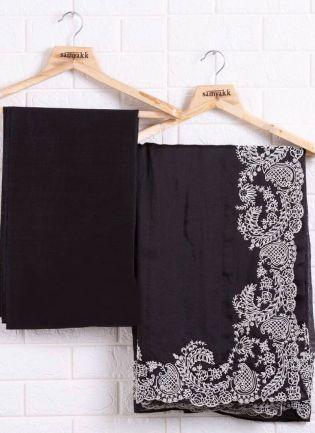 Trendy Black Color Organza Base Saree With Banglori Silk base Blouse