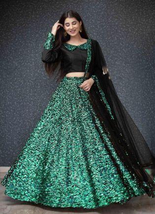 Rama Green Sequins And Velvet Soft Net Flared Lehenga Choli