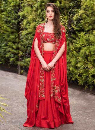 Red Sequin Work And Zari Satin Flared Lehenga Choli