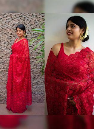 Admirable Strawberry Red Soft Net Base Sequin Resham Work Saree