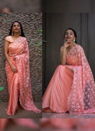 Sensational Peach Pink Soft Net Base Sequin Resham Work Designer Saree
