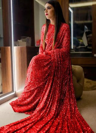 Red Sequins Sparkling Georgette Embroidered Saree